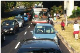 massive traffic  car singapore