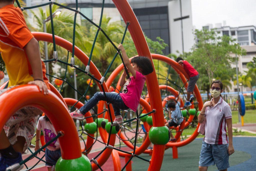 playground with happy children