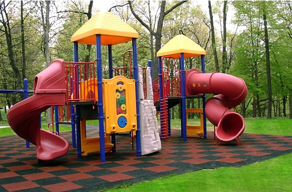 Playground with rubbers flooring